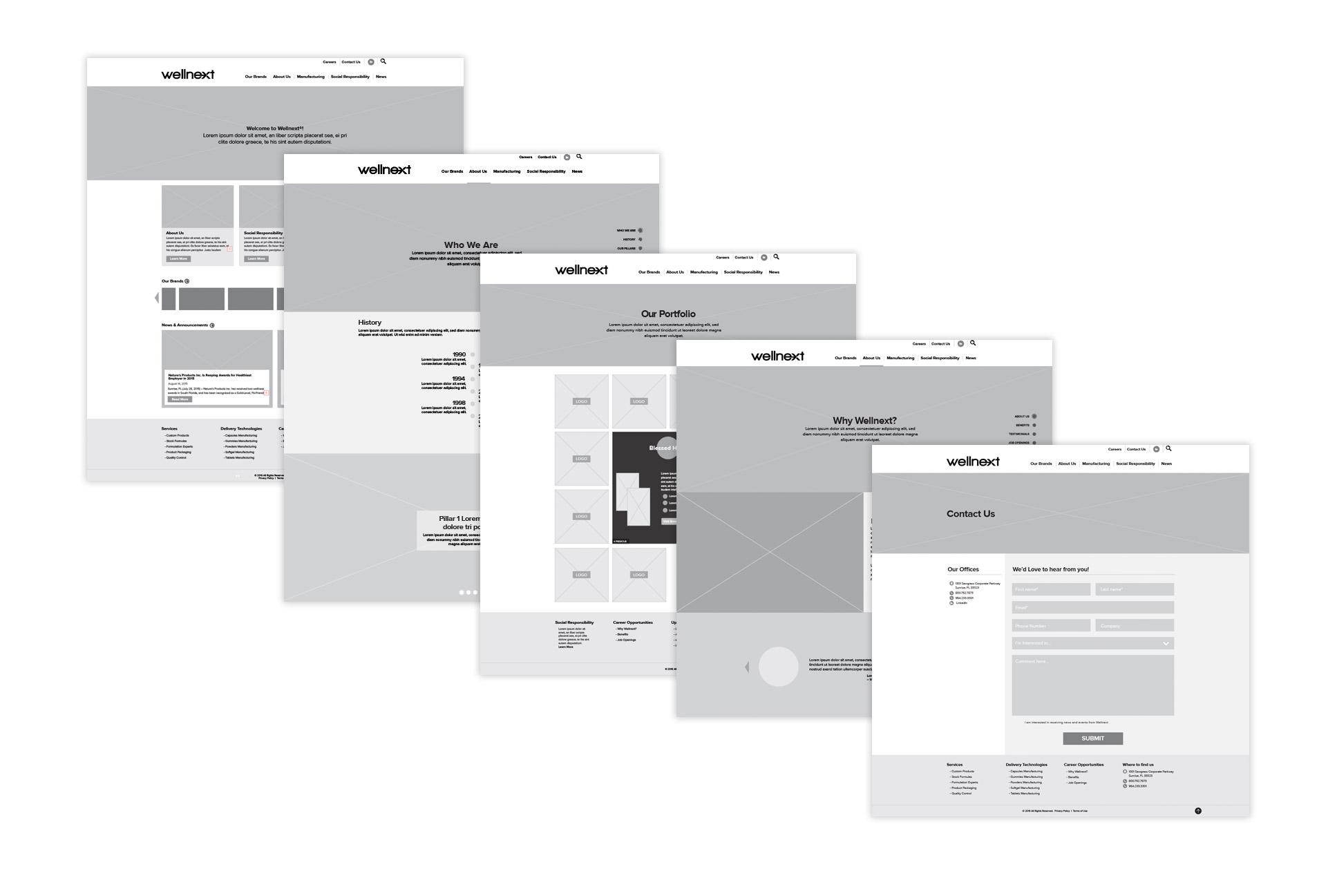 Wellnext website wireframes
