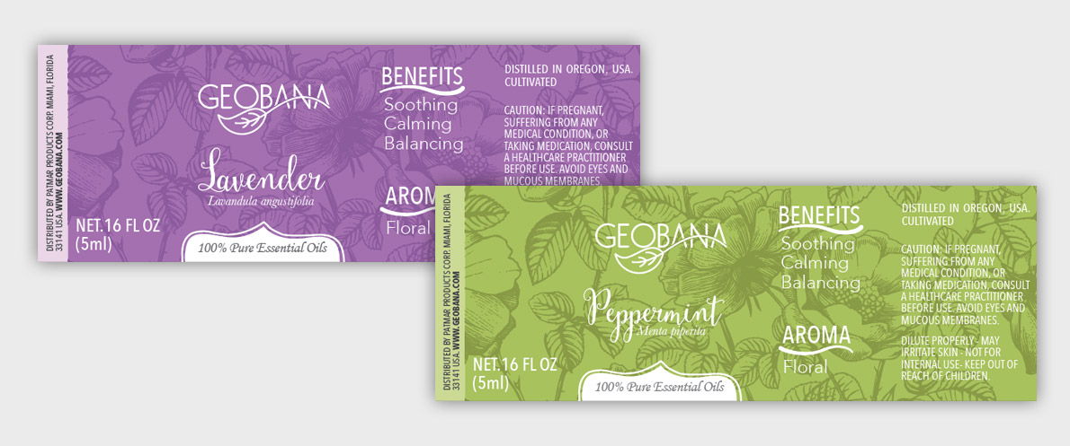Geobana Essential oils label design