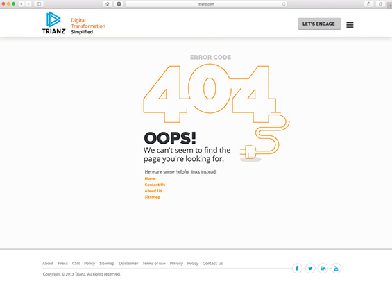 trianz 404 error page