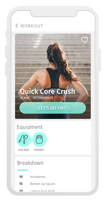 Workout Main screen