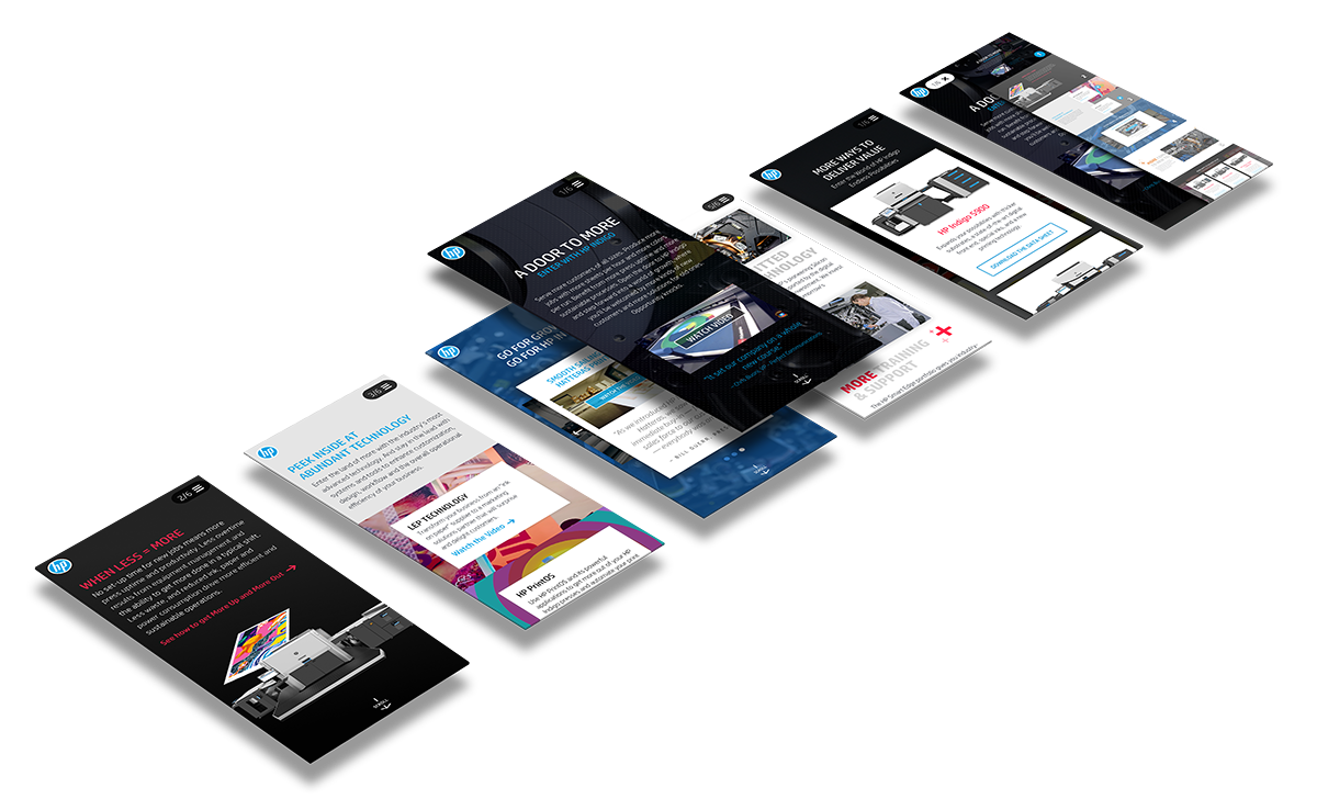 HP Landing page, Mobile views